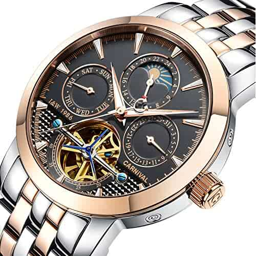 30ee7d76f1e PASOY Carnival Men s Watch Automatic Mechanical Tourbillon Stainless Stell  Date Black Dial Skeleton Watch