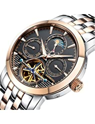 PASOY Carnival Mens Watch Automatic Mechanical Tourbillon Stainless Stell Date Black Dial Skeleton Watch