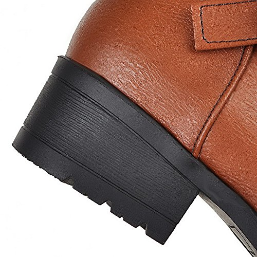 Solid Closed Low Womens Mid Boots Top Toe Soft Heels Material Brown AllhqFashion Round gqvSEww1