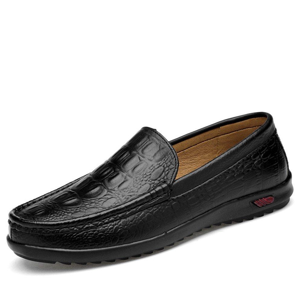 Easy Go Shopping Lederschuhe Klassische Herren Driving Penny Loafers beiläufige Slip on Boot Mokassins Gummisohle Crocodile Black