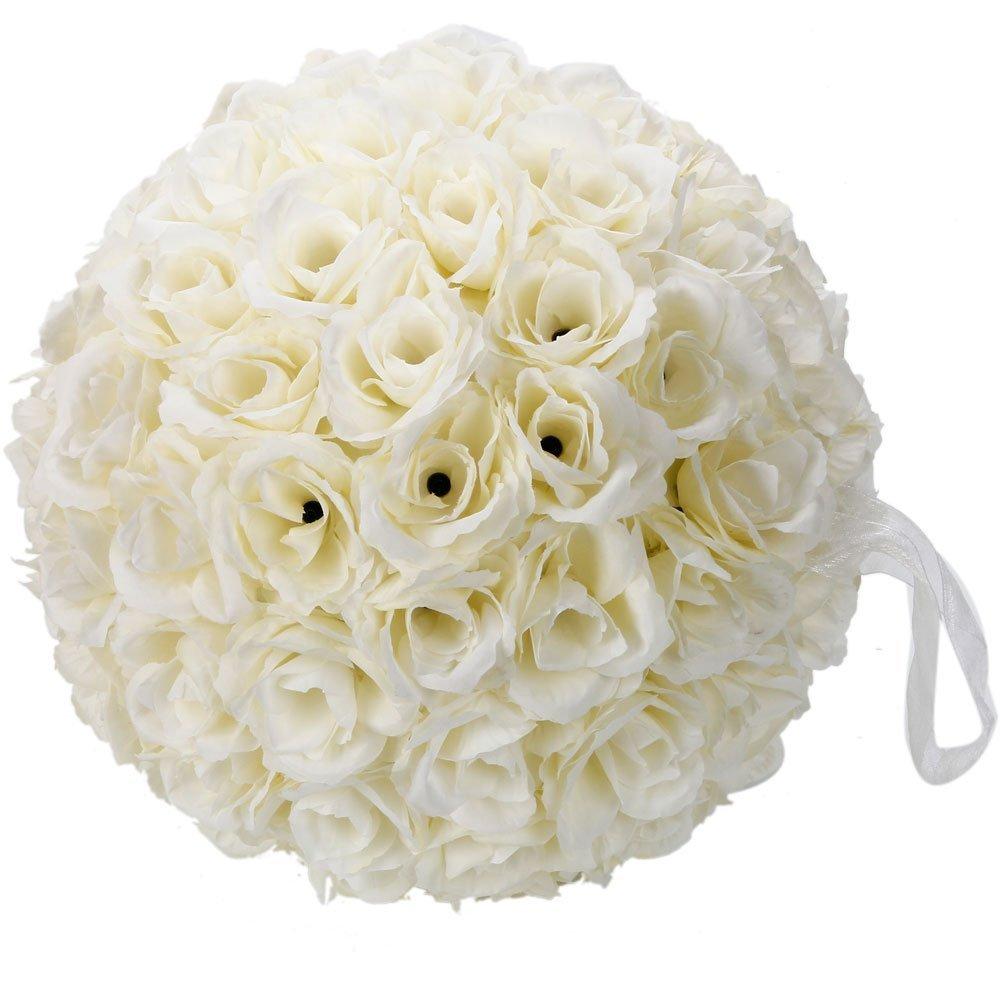 Elegante 25,4cm satin Flower Ball decorazione per festa di nozze cerimonia (bianco avorio)
