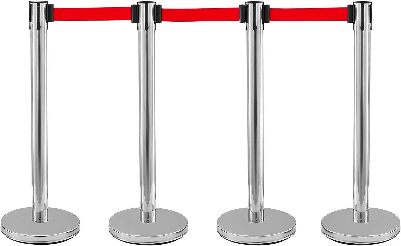 Edelstahl Absperrpfosten Seil Abgrenzungsst/änder Rotes Seil Silbere S/äule 2m 4 Packung