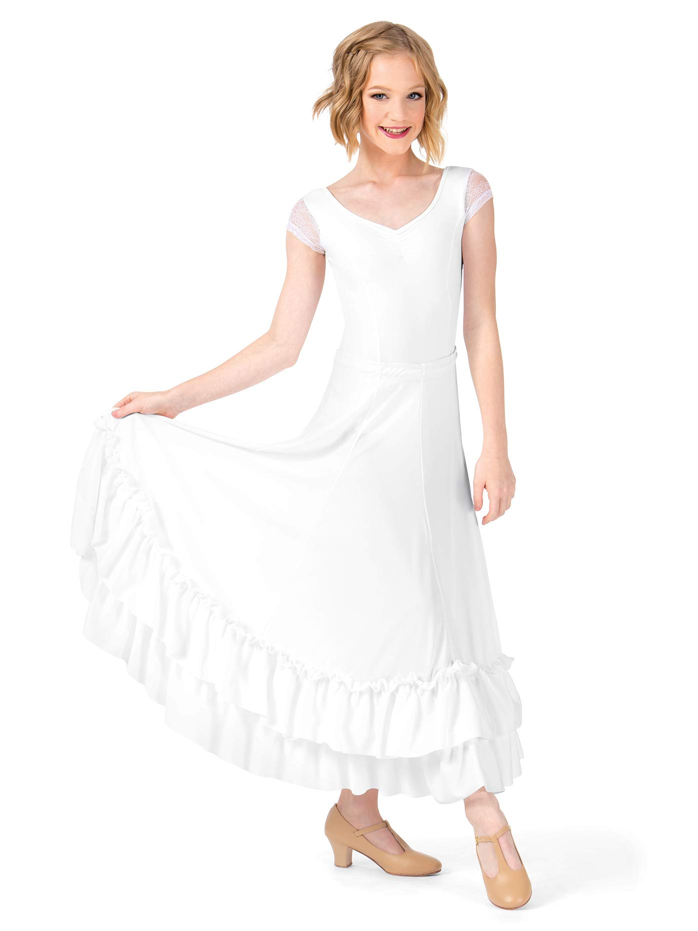 Bal Togs Girls Flamenco Skirt,9100CWHTL,White,Large by Bal Togs
