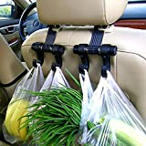 ETbotu Double Hanger Organizer Holder Hook Fit Car Seat for Hanging Groceries Bags Clothes Purses Supplies Universal