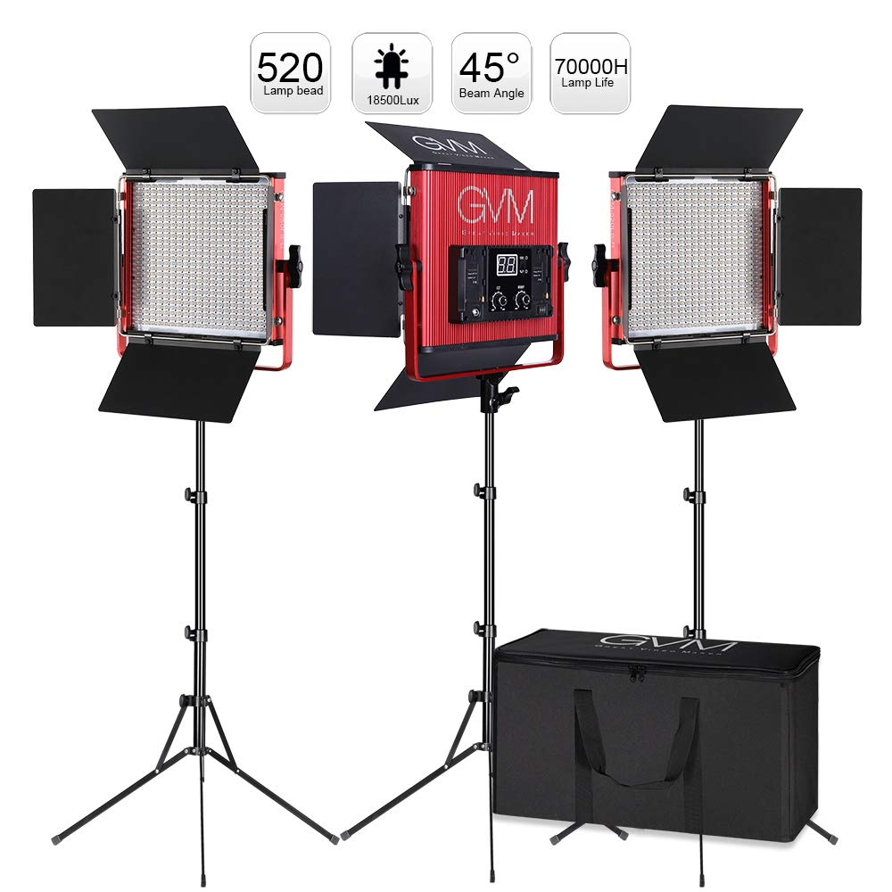 GVM Led Video Lighting Kits, 3 Pack 520 CRI/TLCI 97+ High Brightness Video Lighting with Stand Bi-Color 3200-5600K Led Light Panel for Photography Video Lighting Studio Interview Portrait by GVM Great Video Maker