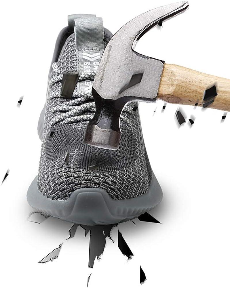 WMZQW Chaussures de Randonnée pour Homme à Absorption de Choc Antidérapantes Sportives Chaussures de Sécurité Black