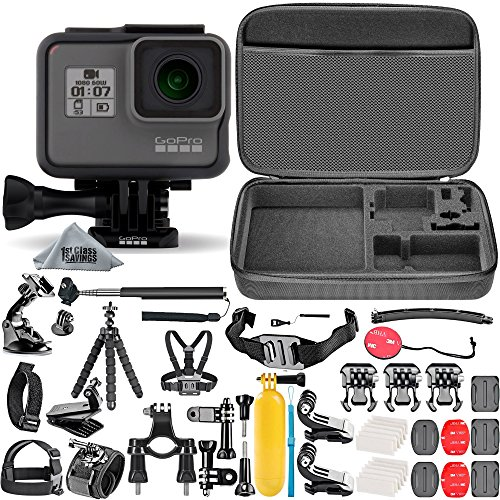 GoPro HERO5 Black (Certified Refurbished) + Hard Case + Chest Strap Mount + Head Strap Mount + Flexible Tripod + Extendable Monopod + Hero 5 Best Value Bundle by 1stClassSavings