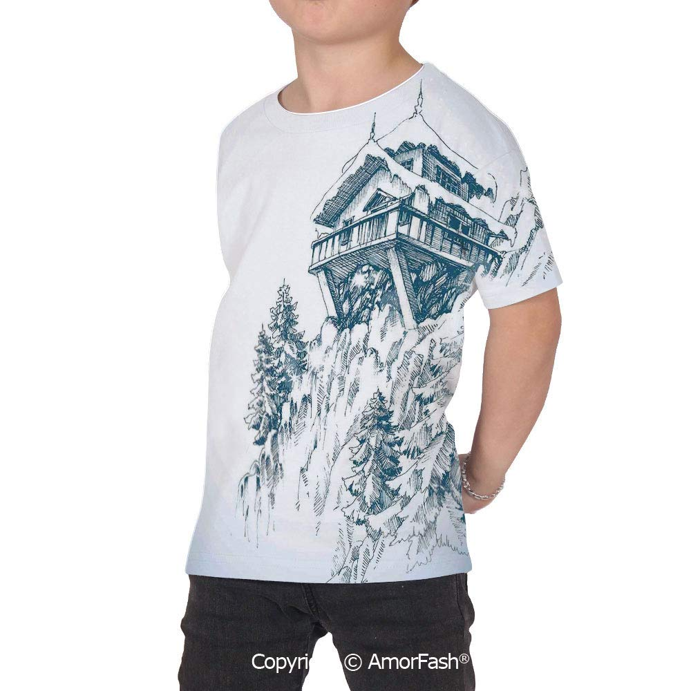 PUTIEN Asian Decor All Over Print T-Shirt,95/% Polyester,Childrens Short Sleeve T-Shirt