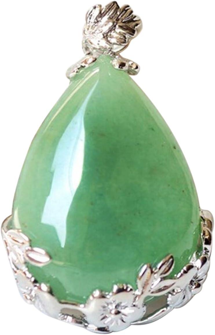 Dasing Mujeres Angel Lagrimas Agua Gota Semi-Preciosas Piedras Colgante - Aventurina Verde