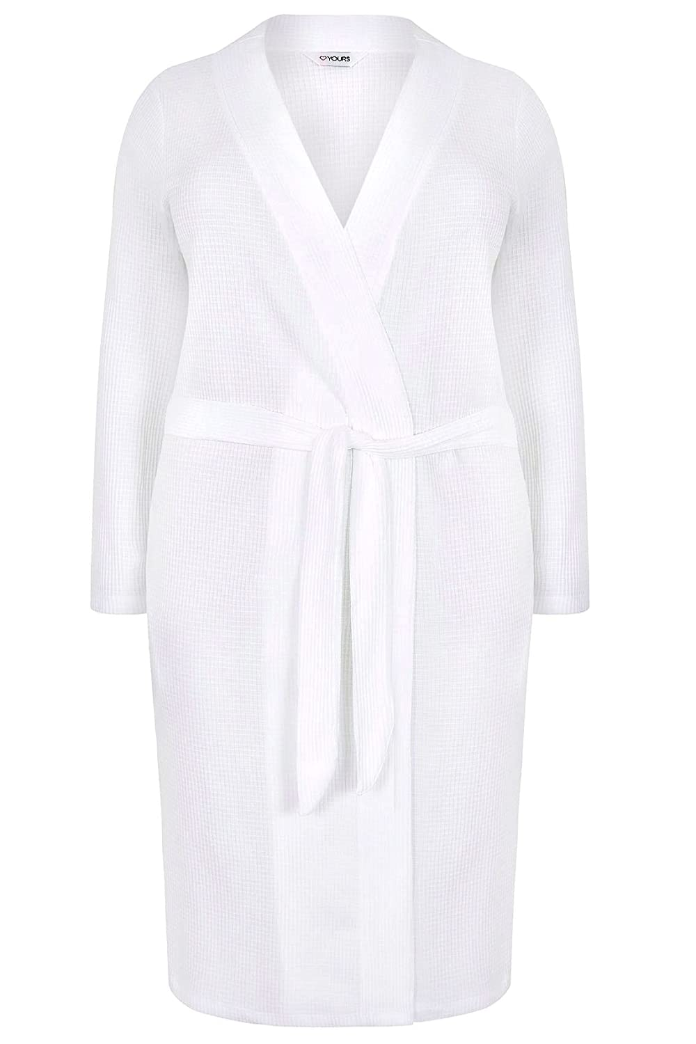 Yours Clothing Women's Plus Size Textured Cotton Dressing Gown with Pockets