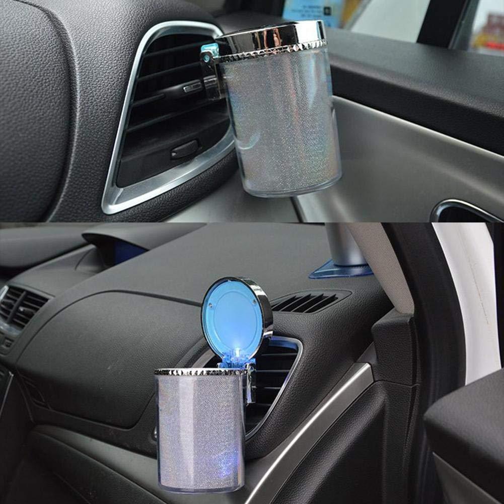 Generp Tragbarer leuchtender Auto Aschenbecher mit LED-Lampen-Automobil-Aschenbecher f/ür die meisten Autos