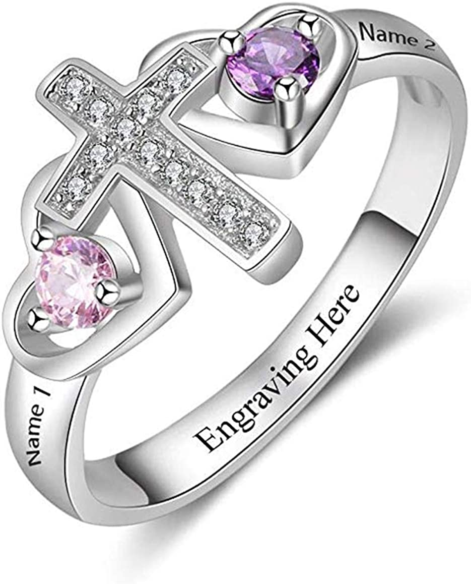 Shiny Alice Personalized Couple Cross Rings Personalized 2 Birthstone 2 Names Heart Rings for Women Engagement Promise Rings
