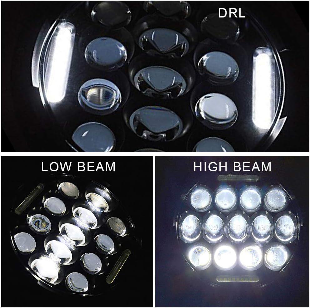DakRide DOT 75W Hi//Lo Beam 7 Inch Round LED Headlight w//DRL Pair Amber Front LED Turn Signal Lights for 2007-2017 Jeep Wrangler JK JKU Sahara Rubicon Pair 4 Inch 30W LED Fog Lights w//Halo Ring