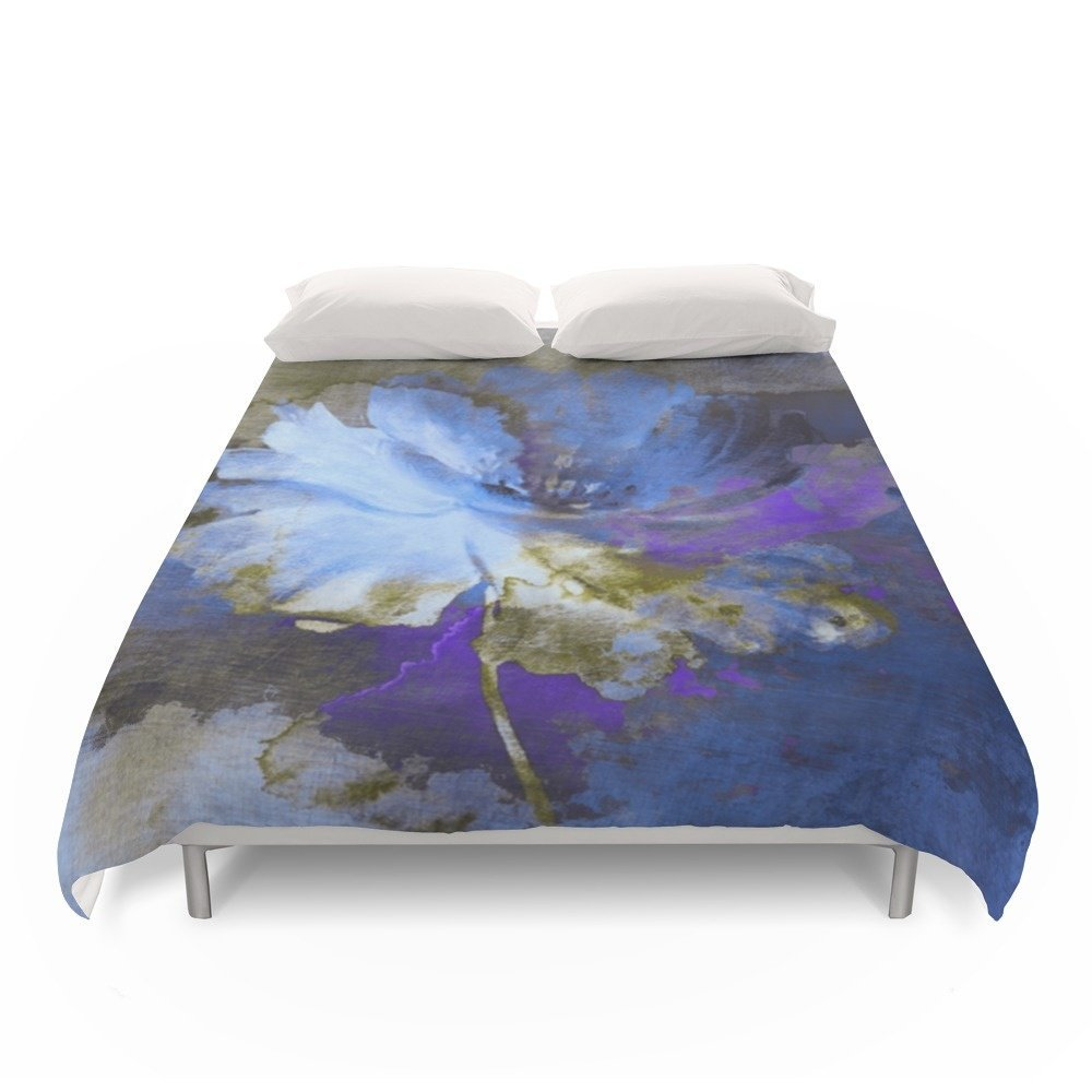 Society6 Blue Abstract Flower And Old Wall Duvet Covers Full: 79'' x 79''