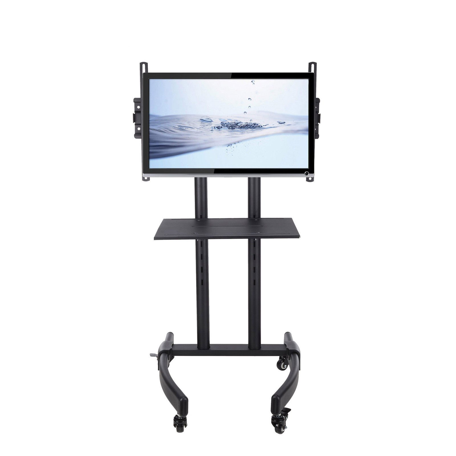 Mobile TV Rolling Cart for LCD LED Plasma Flat Panels Stand with Lockable Wheels Adjustable Height Metal Shelf Conference Rooms Classrooms Homes to 80lbs Fits 32'' to 65'' Black Matte