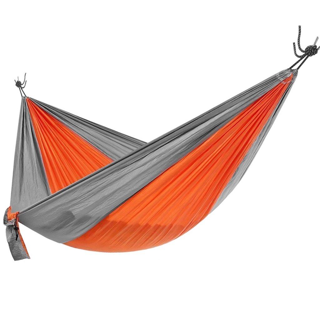 Zheng Hui Shop Hängematten Im Freien kampierende bewegliche stillstehende Bett 104  55 Zoll des Orange Nylonim freien Hängelager 200kg tragend