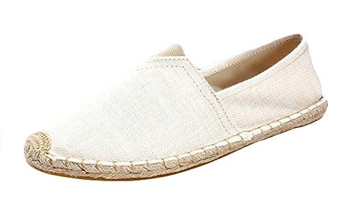 Insun Alpargatas para Hombres Lona Vamp Artesanal Suela Cuerda de Yute Trenzado Ocasionales Loafer: Amazon.es: Zapatos y complementos