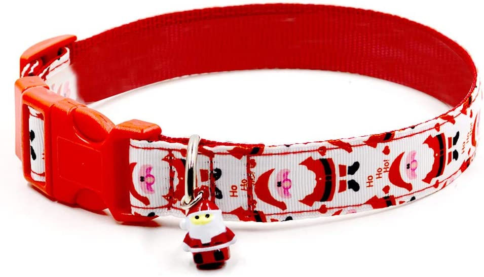 POPETPOP Christmas Dog Collar Santa Pet Collar Cat Holiday Collar Pet Party Ring Puppy Tag Colorful Cat Necklace for Dog Cat Puppy Kitty Pets L