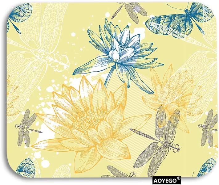 AOYEGO Dragonfly Mouse Pad Boho Style Plants Dragonflies Sketch Gaming Mousepad Rubber Large Pad Non-Slip for Computer Laptop Office Work Desk 9.5x7.9 Inch Yellow White Petrol Blue