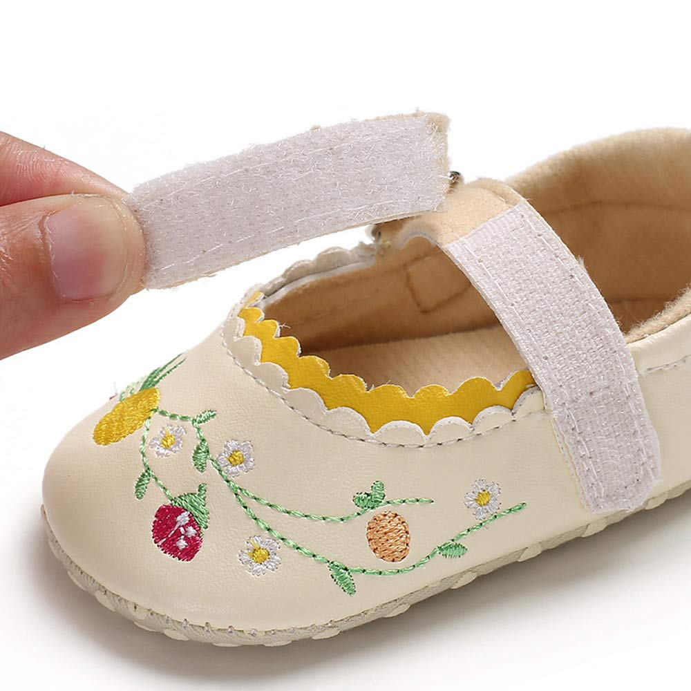 Lurryly❤Newborn Baby Boys Girls Embroidery Anti-Slip First Walkers Soft Crib Toddler Shoes