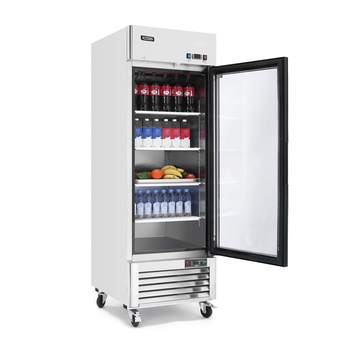 Single Glass Door Merchandiser Refrigerator - KITMA 19.1 Cu.Ft Merchandiser Display Case with LED Lighting for Restaurants, 33° F - 38° F Kitma Direct FCB23RG