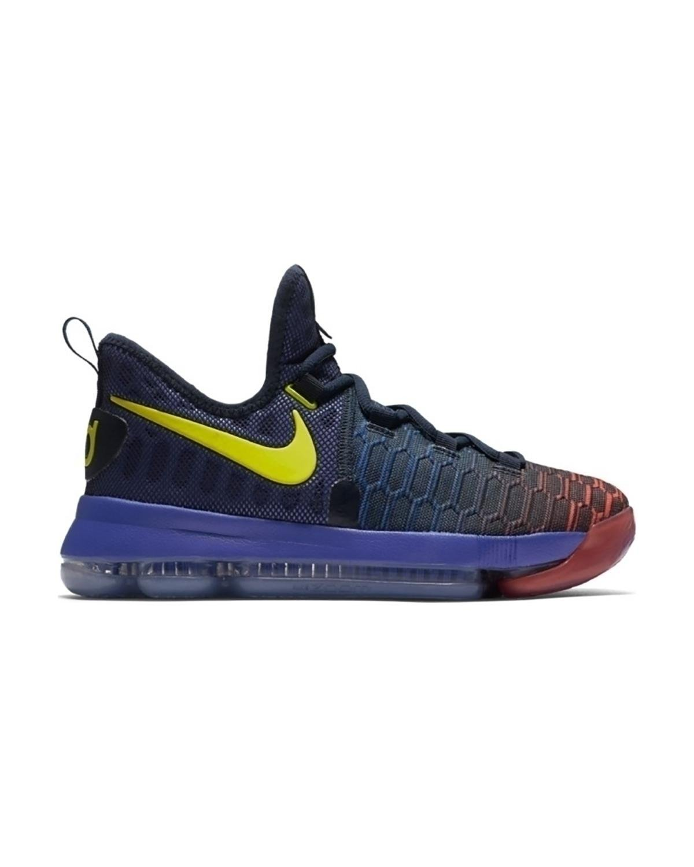Nike Zoom Kids KD9 (GS) Basketball Shoes (6 Big Kid M, Obsidian/Electrolime)