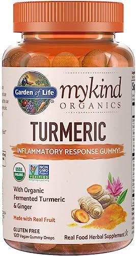 Garden of Life mykind Organics Turmeric Inflammatory Response Gummy – 120 Real Fruit Gummies for Kids Adults, 50mg Curcumin 95 Curcuminoids , No Added Sugar, Organic, Non-GMO, Vegan Gluten Free