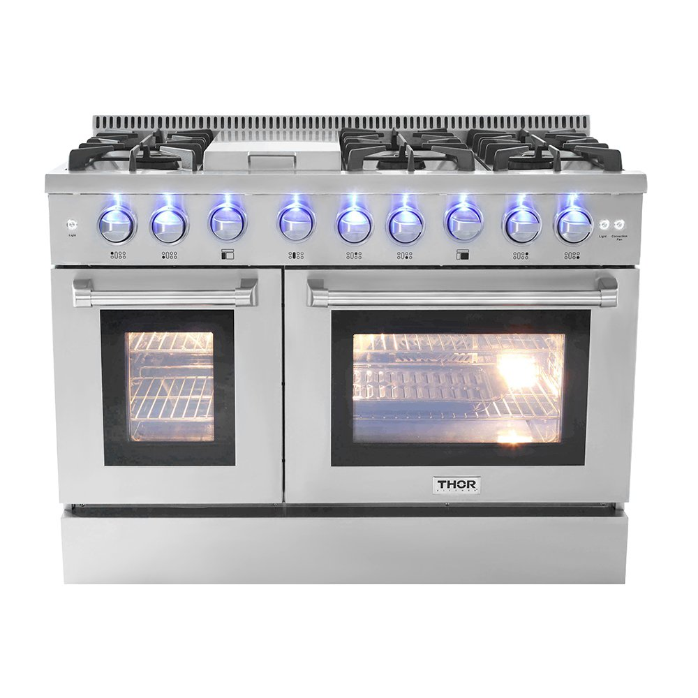 "48"" 6 Burner Gas Range With Double Oven and Griddle Thor Kitchen HRG4808U"