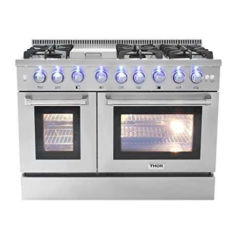 double oven gas range. 48\u0026quot; 6 Burner Gas Range With Double Oven And Griddle U