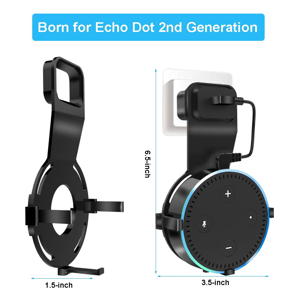AXELECT Wall Mount for Echo Dot, Outlet Mount Holder Hanger Compatible with Echo Dot 2nd Generation, Best Space-Saving Accessories for Smart Home Stereo Speakers Without Messy Wires or Screws (Black)