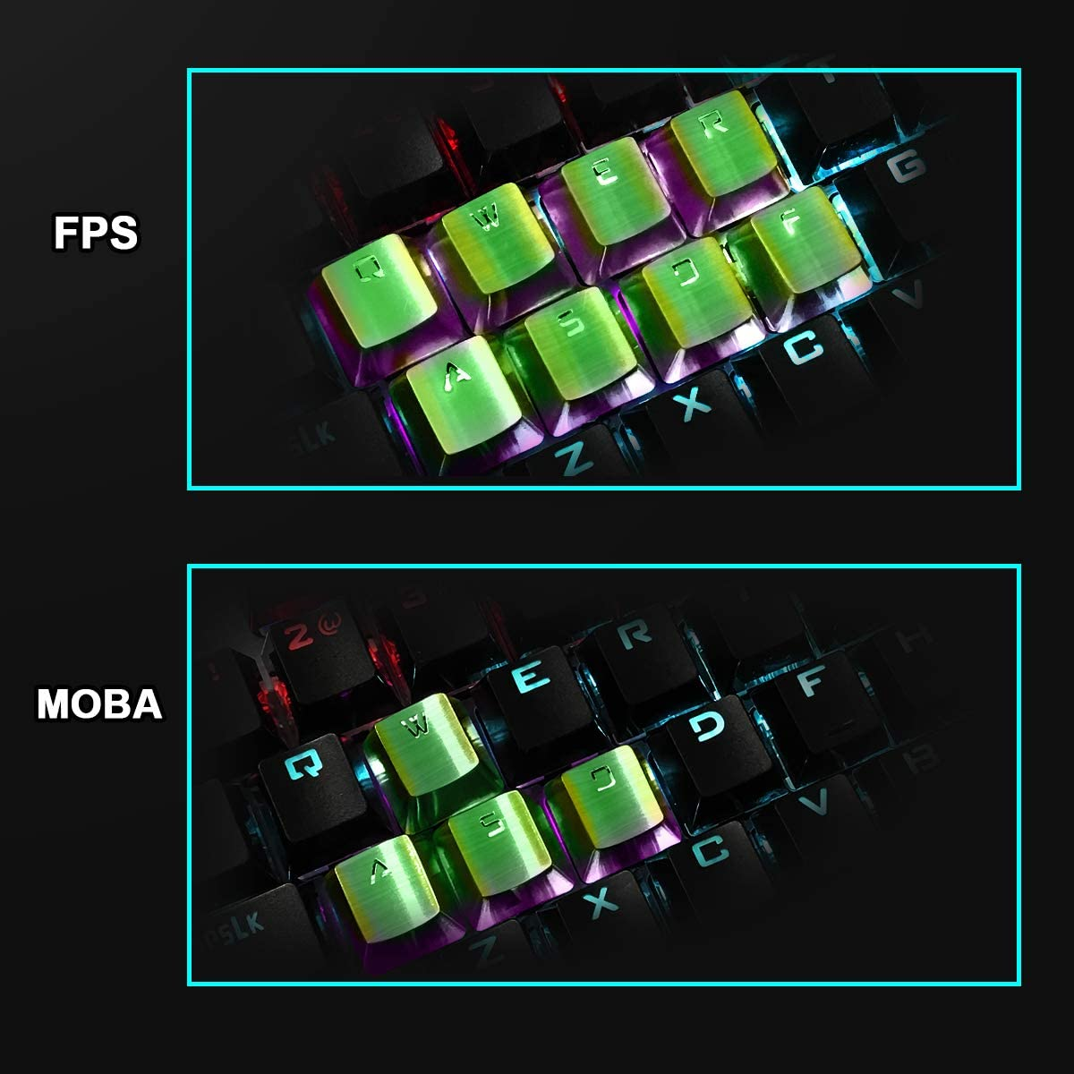 Upgrade Customize Gaming Kit Stainless Steel Keycaps with Backlit Compatible with Mechanical Keyboard Three Years Warranty Silver Fitlink Gaming Keycaps