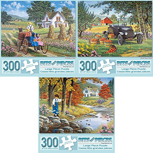- Bits and Pieces - Set of Three (3) 300 Piece Jigsaw Puzzles for Adults - A Perfect Pair, Pick Your Own, Stepping Stones - 300 pc Jigsaws by Artist John Sloane