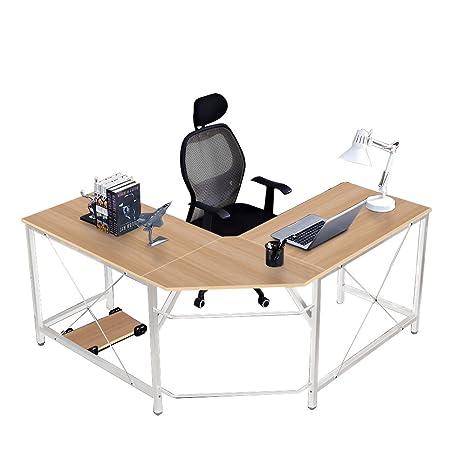 soges Mesa Ordenador Gran Escritorio de Esquina Moderna Escritorio para Oficina Escritorio, (150+150) x 55 x 76 cm,LD-Z01-MO