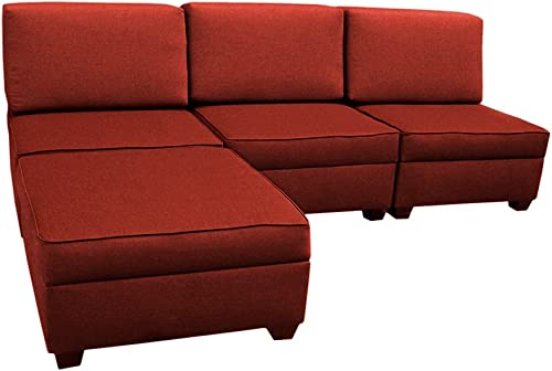 duobed Multifunctional Sectional – 5 Ottomans, 4 Pillows and Back Supports Brick