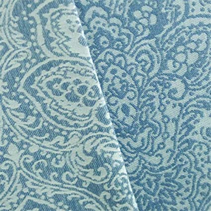 Amazon.com: Denim Blue/White Paisley Jacquard Home Decorating Fabric ...