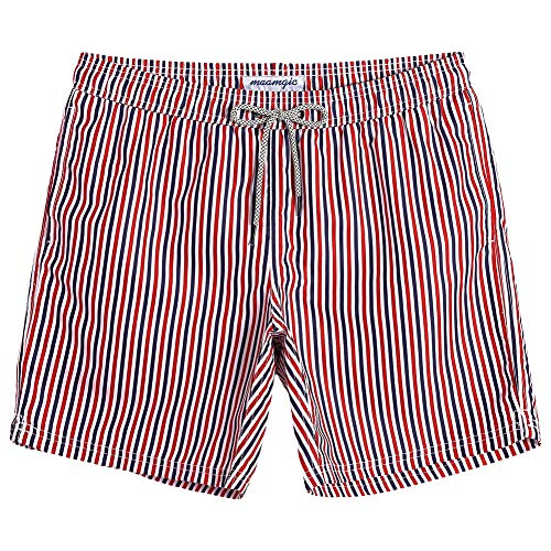 MaaMgic Mens Boys Short Swim Trunks Sriped Swim Shorts Bathing Suits for Summer Vacation]()