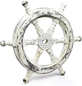 Nagina International Nautical Handcrafted Wooden Ship Wheel - Home Wall Decor (30 Inches, Antique White)