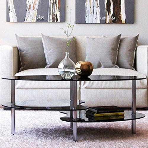 Ryan Rove Elm 38 Inch Oval Modern Two Tier Black Glass Coffee Table (Glass Modern Coffee Tables)