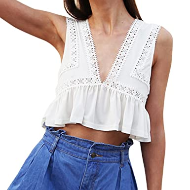 b67c885c7d309 Anglewolf Women s Solid Sleeveless Lace Stitching Backless Deep V-Neck Tank  Tops Short Tops Summer