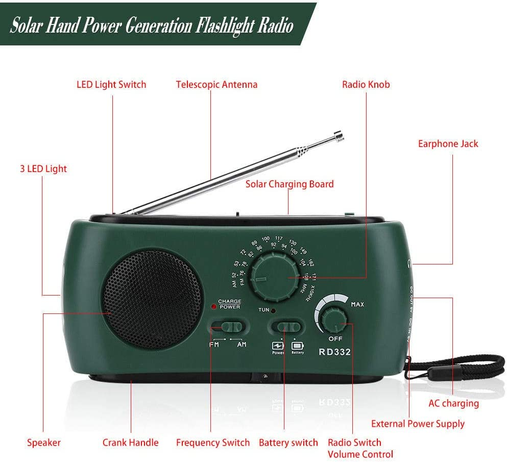 Uscyo Solar Radio Camping AM//FM//NOAA Crank Radio Rechargeable Dynamo Radio Waterproof LED Dynamo Lamp Powerbank for Hiking Emergency Ourdoor