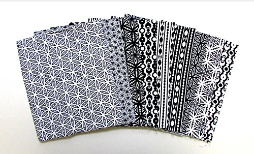 Black And White Quilting Fabric - Transformation Black and White Collection 9 pc Cotton Fabric Quilting FQs Assortment by Benartex Studio