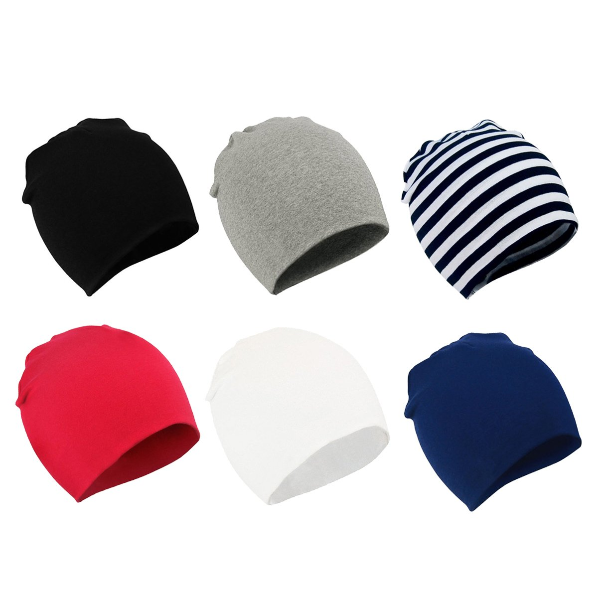 Zando Toddler Baby Beanies Hat for Baby Girls Cotton Knit Beanie Kids Lovely Soft Cute Cap Infant Beanies for Baby Boys A 6 Pack Black Stripe White Navy Light Grey Red Small (0-12 months)