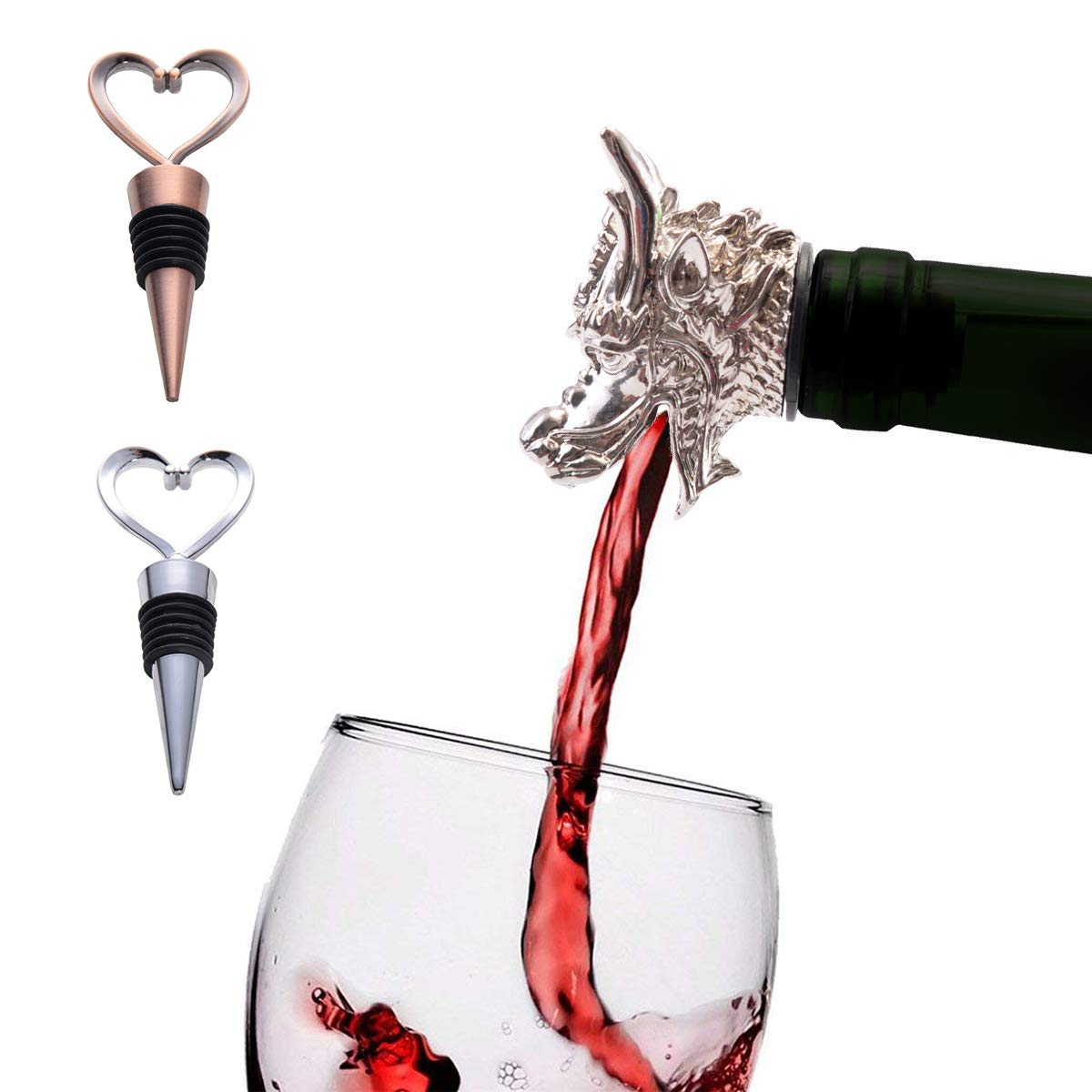 Premium Dragon Wine Bottle Aerator Pourer and 2 Wine Stoppers,made of Zinc Alloy and Silicone Rubber(Eco-Friendly),Fantastic Beast Reuseable Decanter Spout,Wine Server Tools Gifts (Dragon)