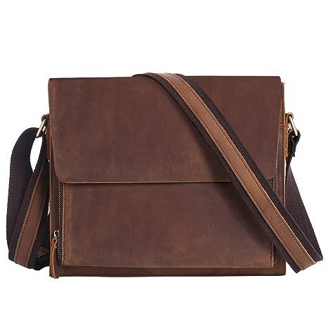 8763fa8327 Leathario Borsa a Tracolla in Pelle da Uomo per Lavoro Messenger Bag a  Spalla Retro Porta