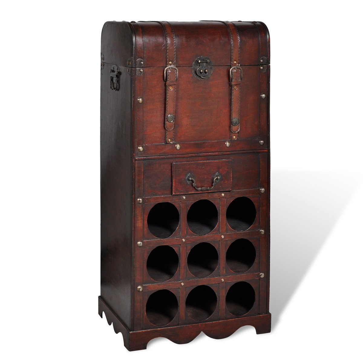 wooden wine rack for 9 bottles storage trunk with drawer amazoncouk kitchen u0026 home - Wooden Wine Rack