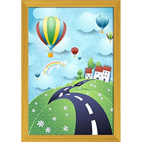Artzfolio Fantasy Landscape With Road Hot Air Balloons Poster
