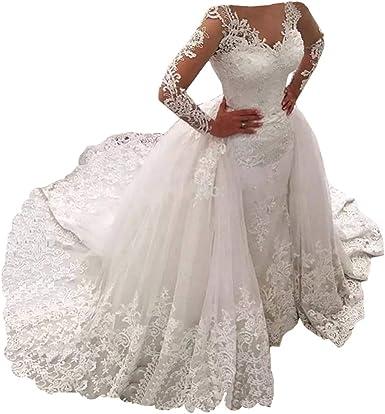 Amazon Com Tsbridal Detachable Skirt Wedding Dress Long Sleeves Lace Mermaid Wedding Dresses Clothing