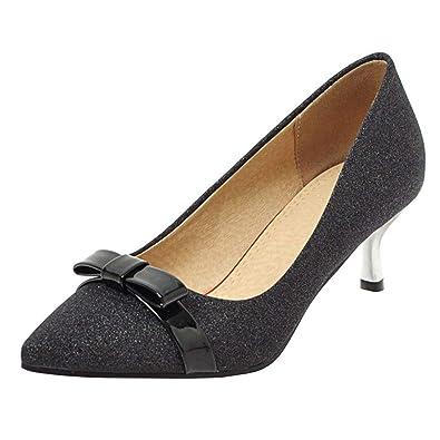 0ce3f0bdd65 Vitalo Womens Glitter Pointed Toe Kitten Heel Pumps with Bow Tie Wedding  Bridal Shoes Size 4