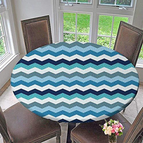 Mikihome Elasticized Table Cover Aqua al Stripes and Seafoam Machine Washable 40