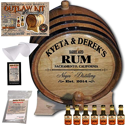 Personalized Rum Making Kit (060) - Create Your Own Amber Cuban Rum - The Outlaw Kit from Skeeter's Reserve Outlaw Gear - MADE BY American Oak Barrel - (Oak, Black Hoops, 5 Liter)